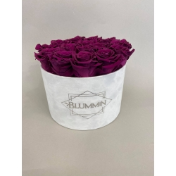 LARGE DUSTY PINK VELVET BOX WITH WHITE ROSES