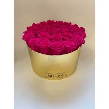 EXTRA LARGE BLUMMiN - kuldne karp HOT PINK uinuvate roosidega