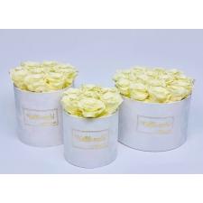 KALLILE EMALE WHITE VELVET BOX WITH CHAMPAGNE ROSES