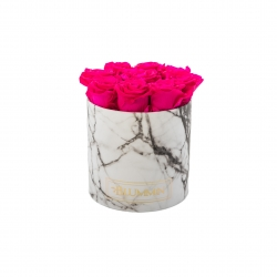 MEDIUM BLUMMIN WHITE MARBLE BOX WITH HOT PINK ROSES