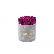 SMALL Kallile emale - helehall sametkarp VINTAGE PLUM roosidega