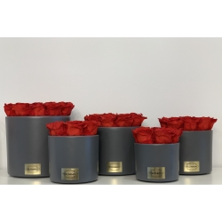 DARK GREY CERAMIC POT WITH VIBRANT RED ROSES