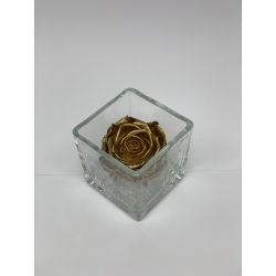 GLASS VASE WITH GOLDEN ROSE AND CRYSTALS