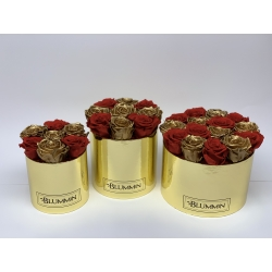 GOLDEN BOX WITH VIBRANT RED AND GOLDEN ROSES MIX