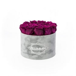 LARGE BLUMMIN LIGHT GREY BOX WITH VINTAGE PLUM ROSES