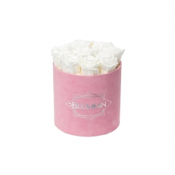 MEDIUM BLUMMIN PINK VELVET BOX WITH WHITE ROSES