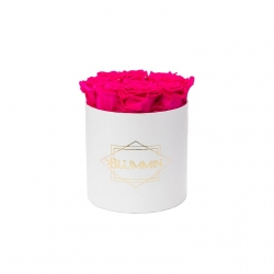 MEDIUM CLASSIC WHITE BOX WITH HOT PINK ROSES