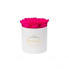 MEDIUM BLUMMiN - valge karp HOT PINK roosidega