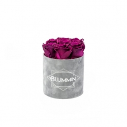 SMALL VELVET LIGHT GREY BOX WITH VINTAGE PLUM ROSES