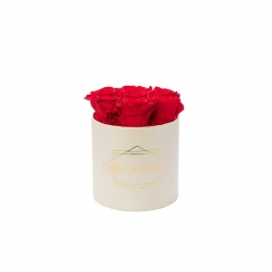 SMALL CLASSIC CREAM BOX WITH VIBRANT RED ROSES
