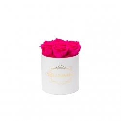 SMALL CLASSIC WHITE BOX WITH HOT PINK ROSES