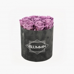 MEDIUM VELVET DARK GREY BOX WITH LILAC ROSES