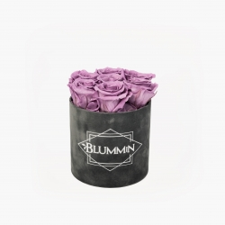 SMALL VELVET DARK GREY BOX WITH LILAC ROSES