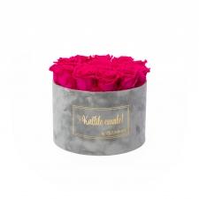 LARGE Kallile emale LIGHT GREY VELVET BOX WITH HOT PINK ROSES