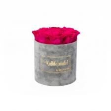 MEDIUM Kallile emale - helehall sametkarp HOT PINK roosidega