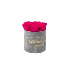 SMALL Kallile emale - helehall sametkarp HOT PINK roosidega