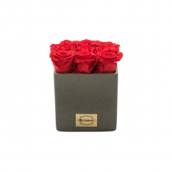 DARK GREY SQUARE SHAPE CERAMIC POT WITH 9 VIBRANT RED ROSES