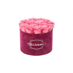 LARGE FUCHSIA VELVET BOX WITH BABY PINK ROSES