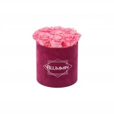 MEDIUM FUCHSIA VELVET BOX WITH BABY PINK ROSES