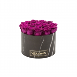 LARGE BLACK MARMOR BOX WITH PLUM ROSES
