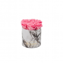 SMALL WHITE MARMOR BOX WITH BABY PINK ROSES