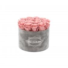 LARGE BLUMMiN - helehall sametkarp VINTAGE PINK roosidega