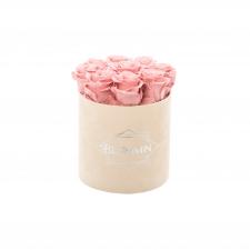 MEDIUM BLUMMiN - NUDE sametkarp VINTAGE PINK roosidega