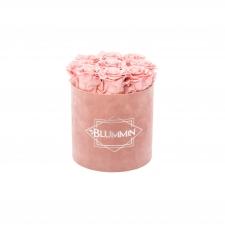 MEDIUM VELVET DUSTY PINK BOX WITH VINTAGE PINK ROSES
