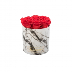 MEDIUM MARBLE COLLECTION - white BOX WITH VIBRANT RED ROSES
