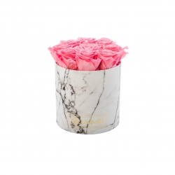 MEDIUM MARBLE COLLECTION - WHITE BOX WITH BABY PINK ROSES