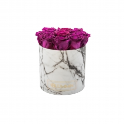 MEDIUM MARBLE COLLECTION - WHITE BOX WITH PLUM ROSES