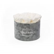 LARGE BLUMMiN - helehall sametkarp WHITE roosidega