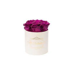 SMALL CLASSIC CREAM BOX WITH VINTAGE PLUM ROSES