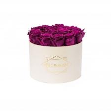LARGE BLUMMiN - kreemikasvalge karp VINTAGE PLUM roosidega