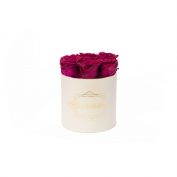 SMALL CLASSIC CREAM BOX WITH CHERRY LADY ROSES