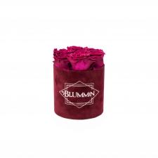 SMALL BLUMMiN - DARK RED VELVET BOX WITH CHERRY LADY ROSES