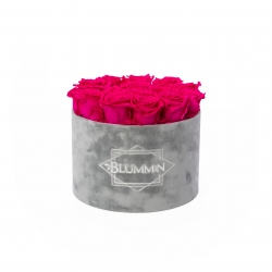 LARGE VELVET LIGHT GREY BOX WITH HOT PINK ROSES