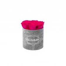 SMALL BLUMMiN - LIGHT GREY VELVET BOX WITH HOT PINK ROSES