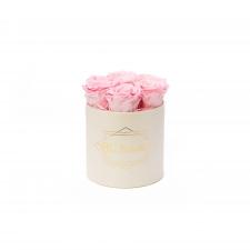 SMALL BLUMMiN - CREAM WHITE BOX WITH BRIDAL PINK ROSES
