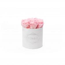 SMALL BLUMMiN - WHITE VELVET BOX WITH BRIDAL PINK ROSES