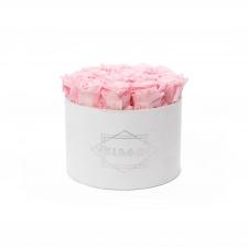 LARGE VELVET WHITE BOX WITH BRIDAL PINK ROSES
