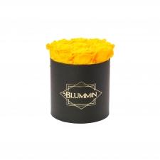 MEDIUM CLASSIC BLACK BOX WITH YELLOW ROSES