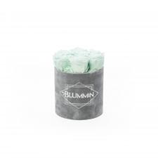 SMALL BLUMMiN - LIGHT GREY VELVET BOX WITH MINT ROSES