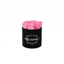 SMALL BLUMMiN - BLACK VELVET BOX WITH BABY PINK ROSES