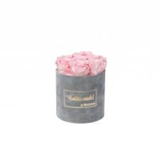 SMALL Kallile emale - helehall sametkarp BRIDAL PINK roosidega
