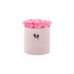 BABY GIRL - LIGHT PINK VELVET BOX WITH 9 BABY PINK ROSES