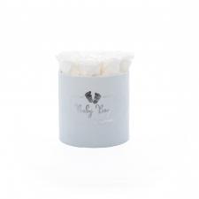 BABY BOY - helesinine sametkarp WHITE roosidega (MEDIUM - 9 roosiga)
