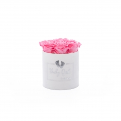 BABY GIRL - WHITE VELVET BOX WITH  7 BABY PINK ROSES