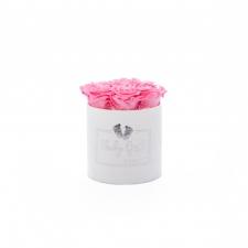 BABY GIRL - valge sametkarp BABY PINK roosidega (SMALL - 7 roosiga)