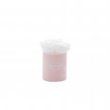 XS BLUMMiN - LIGHT PINK VELVET BOX WITH WHITE ROSES